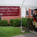 Revolutionary War re-enactor greets attendees arriving at The Gathering.