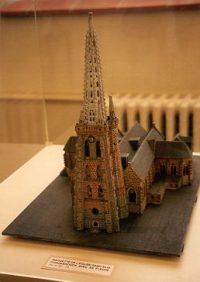 1914 Model of St. Eloi Church, Hazebrouck, France. The tower lost its steeple to German artillery fire in 1940. It was finally replaced in 1994.